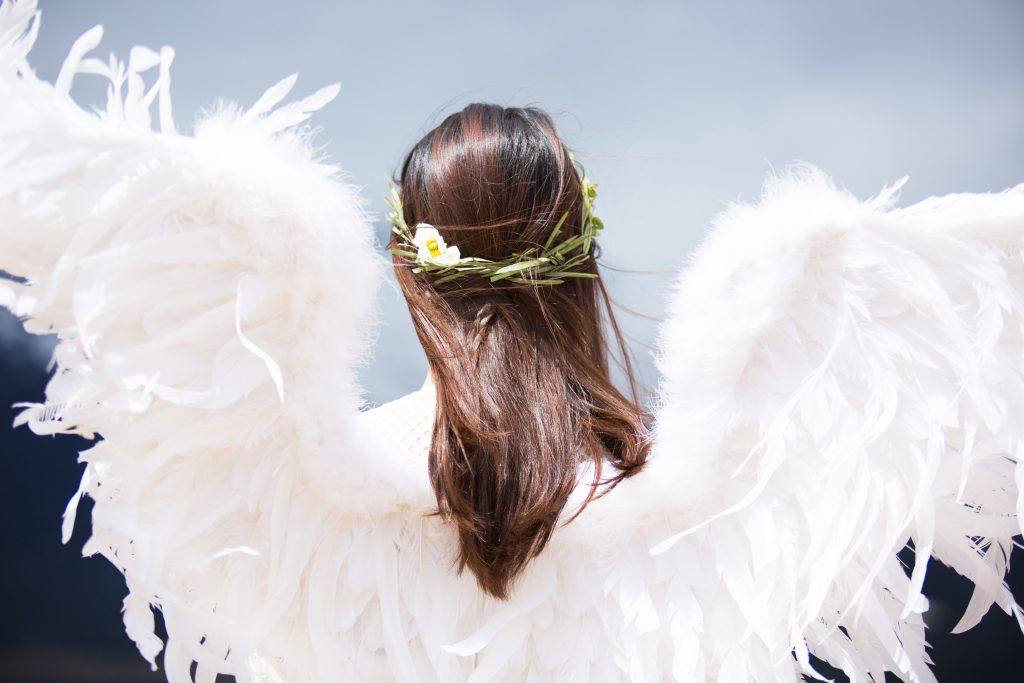 Angle with flower halo